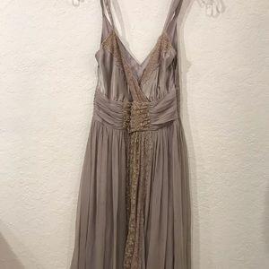 Anthropologie LIL silk gray chiffon dress 4 S